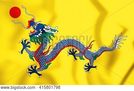 3d Flag Of Qing Dynasty (1889-1912), China. 3d Illustration.