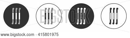 Black Crochet Hook Icon Isolated On White Background. Knitting Hook. Circle Button. Vector
