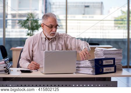 Old male bookkeeper in budget planning concept