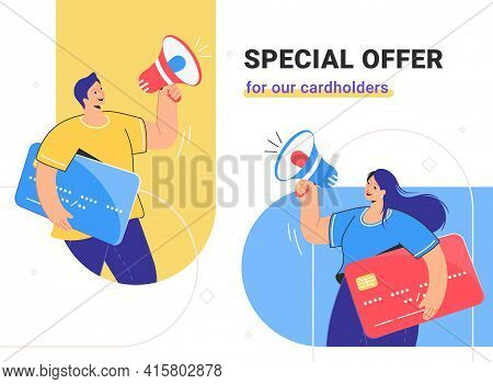 Special Offer For Cardholders And Banking Cashback For Online Shopping. Flat Vector Illustration Of