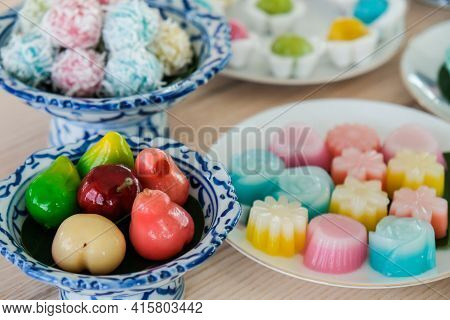 Close Up Of A Set Of Thai Sweet Dessert (khanom Wan Thai) On The Table. Thai Desserts Are A Sweet An