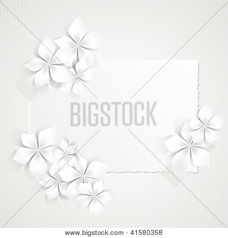Background with white flowers and copy space