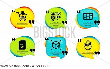 Handout, Shopping And Augmented Reality Icons Simple Set. Speech Bubble With Quotes. Dj Controller,