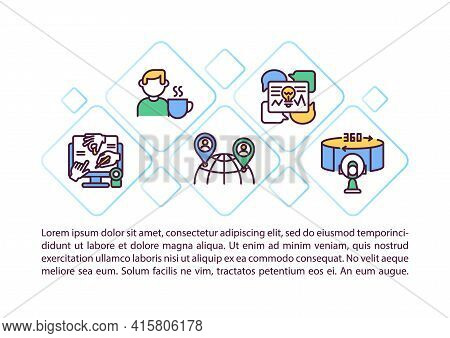 Virtual Event Advantages Concept Line Icons With Text. Ppt Page Vector Template With Copy Space. Bro
