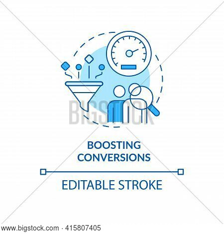 Boosting Conversion Blue Concept Icon. Improve Sales Rate. Business Optimization. Website Traffic. S