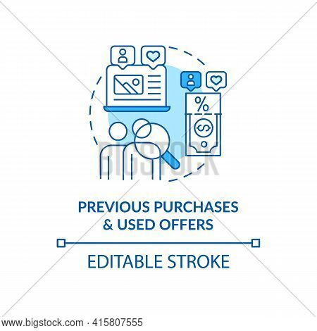 Previous Purchases And Used Offers Blue Concept Icon. Online Customer Information. User Data. Smart