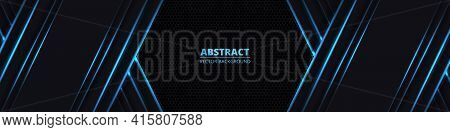 Dark Abstract Wide Horizontal Banner With Hexagon Carbon Fiber Grid. Technology Background With Blue