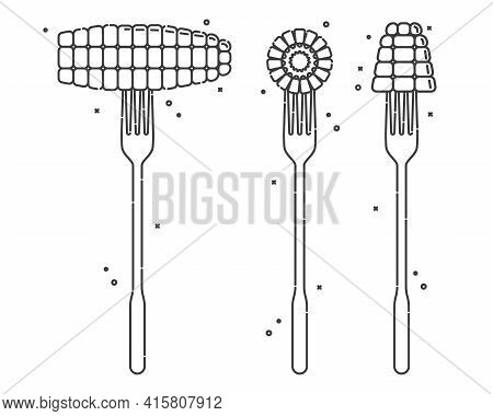 Corn On A Fork On White Background. Three Views To Object. Flat Style Illustration For Any Design. H