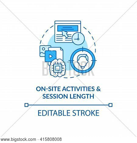 On Site Activities And Session Length Blue Concept Icon. Online Metrics. Seo Analytics. Smart Conten