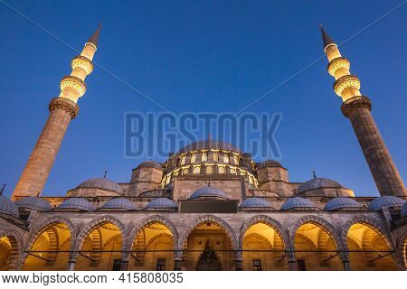 Entrance To The Suleymaniye Mosque Which Is An Ottoman Imperial Mosque In Istanbul, Turkey. It Is Th
