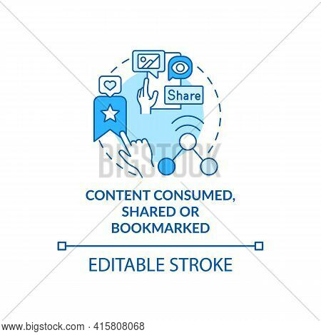 Content Consumed, Shared, Bookmarked Blue Concept Icon. Social Media Engagement. User Action. Smart