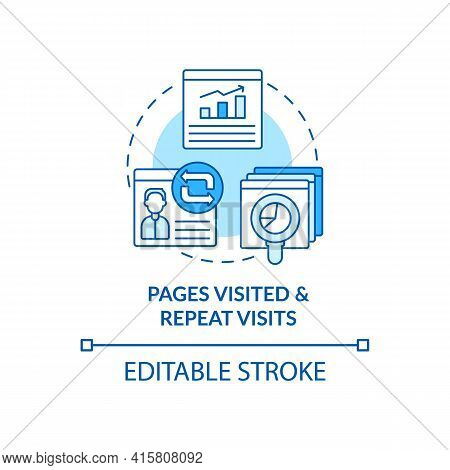 Page Visited And Repeated Visit Blue Concept Icon. Online Customer Activity Monitoring. Smart Conten