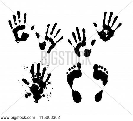 Vector Set Of Isolated Elements Hand And Foot Prints. Silhouettes Of Human Hands And Feet With Splas