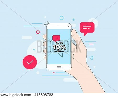 Up To 10 Percent Off Sale. Mobile Phone With Offer Message. Discount Offer Price Sign. Special Offer