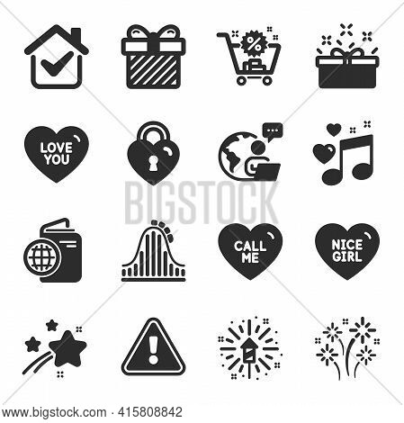 Set Of Holidays Icons, Such As Shopping Cart, Fireworks, Surprise Symbols. Nice Girl, Love Lock, Cal