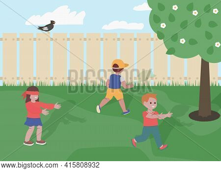 Children Playing Hide And Seek Game In The Garden Vector Illustration.