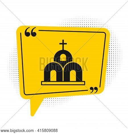 Black Church Building Icon Isolated On White Background. Christian Church. Religion Of Church. Yello