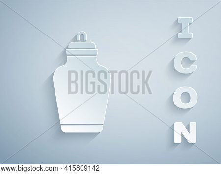 Paper Cut Funeral Urn Icon Isolated On Grey Background. Cremation And Burial Containers, Columbarium