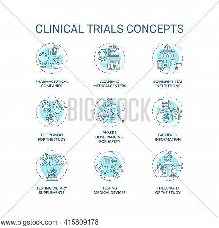 Clinical Trials Concept Icons Set. Medical Studies Idea Thin Line Rgb Color Illustrations. Testing D