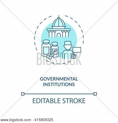 Governmental Institutions Concept Icon. Trials Sponsorship Idea Thin Line Illustration. State, Local