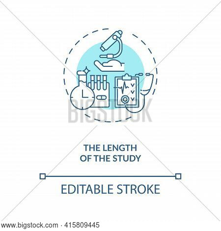 Study Length Concept Icon. Clinical Trial Protocol Idea Thin Line Illustration. Research Duration Pl