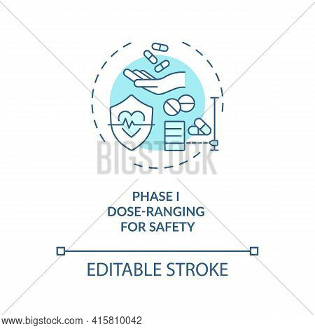 Dose-ranging For Safety Concept Icon. Clinical Trials Phase 1 Idea Thin Line Illustration. Identifyi