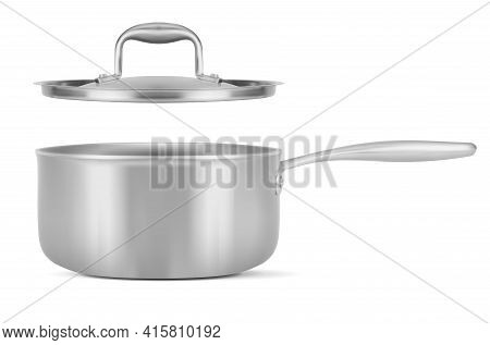 Stainless Steel Pot And Lid On White Background - Vector Illustration