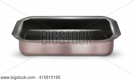 Stainless Steel Baking Tray On White Background - Vector Illustration