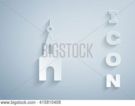 Paper Cut Church Building Icon Isolated On Grey Background. Christian Church. Religion Of Church. Pa