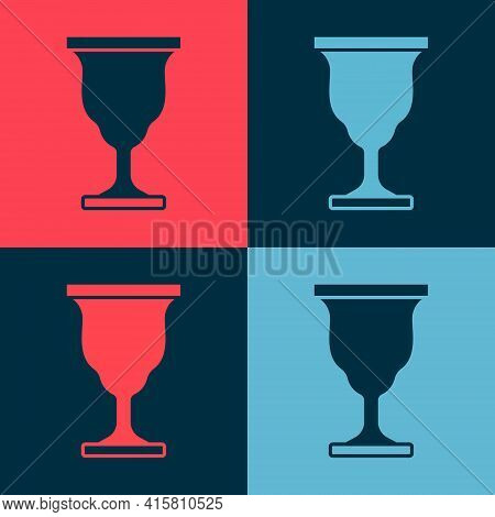Pop Art Christian Chalice Icon Isolated On Color Background. Christianity Icon. Happy Easter. Vector