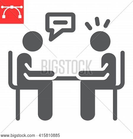 Interview Glyph Icon, Discussion And Two People Talking, Recruitment Interview Vector Icon, Vector G
