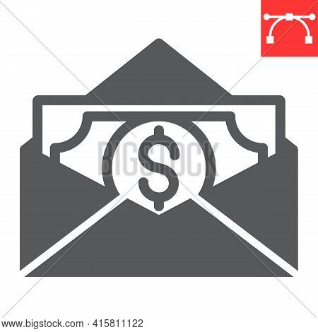 Salary Glyph Icon, Corruption And Earnings, Money In Envelope Vector Icon, Vector Graphics, Editable