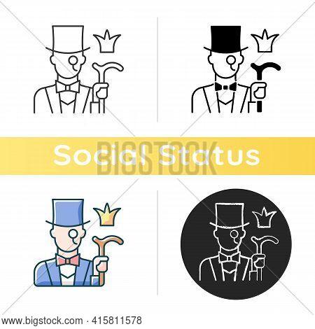 Aristocratic Elite Icon. Posh Gentleman With Monocle. Rich Person, Wealthy Victorian Man. Upper Soci
