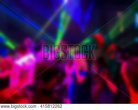 Dancing People At A Party. Entertainment Program At The Wedding. Silhouettes Of People Dancing At A