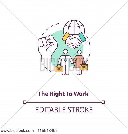 The Right To Work Concept Icon. Labour Union. Equality For Gender. Male, Female Worker. Migrant Work