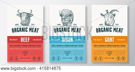 Organic Meat Abstract Vector Packaging Design Or Label Templates Set. Farm Grown Steaks Banner. Mode