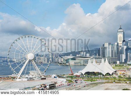 Ferris Wheel In Downtown Of Hong Kong City
