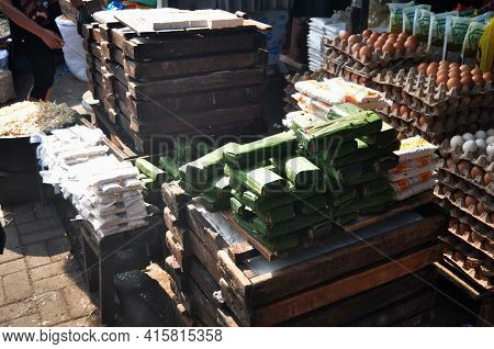 Food Material Ingredient And Egg And Other Product For Sale Indonesian People At Grocery Stall Local