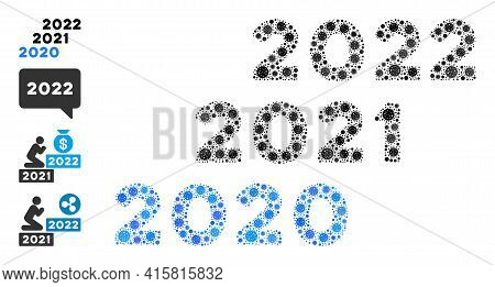2020 - 2022 Years Covid-2019 Mosaic Icon. 2020 - 2022 Years Collage Is Shaped From Scattered Covid P