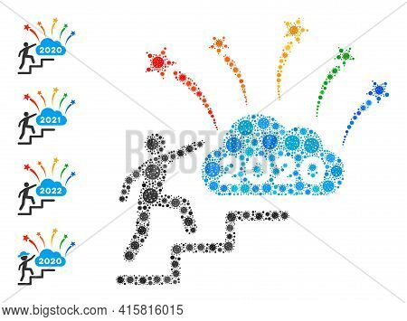 2020 Fireworks Cloud Steps Covid Mosaic Icon. 2020 Fireworks Cloud Steps Collage Is Designed With Ra