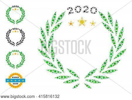 2020 Laurel Wreath Covid Virus Mosaic Icon. 2020 Laurel Wreath Collage Is Shaped Of Randomized Covid