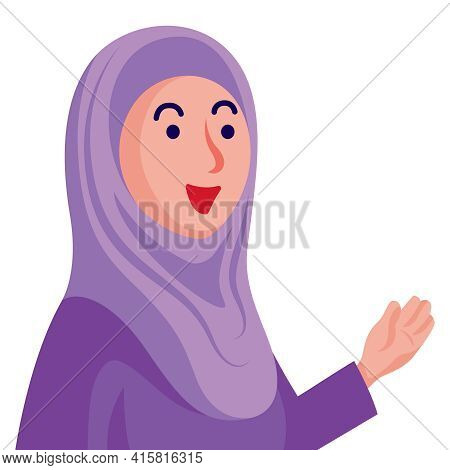 Smiling Muslim Woman Character With Purple Hijab Giving Speech Or Tutoring To Audience Or Student.