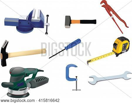 Work And Hobby Activities Vise, Electric Planer, Hammer, Wrench, Meter, Screwdriver, Mallet,