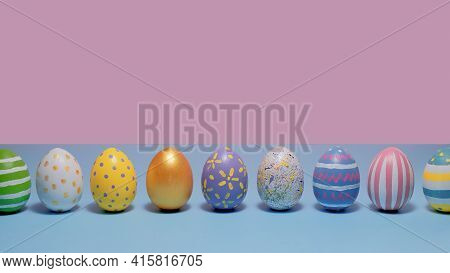 Colorful Easter Eggs On Blue And Pink Background. Card For Happy Easter.