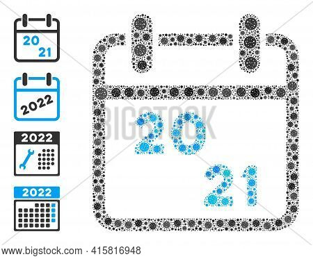 2021 Calendar Coronavirus Mosaic Icon. 2021 Calendar Collage Is Shaped Of Randomized Covid Pictogram