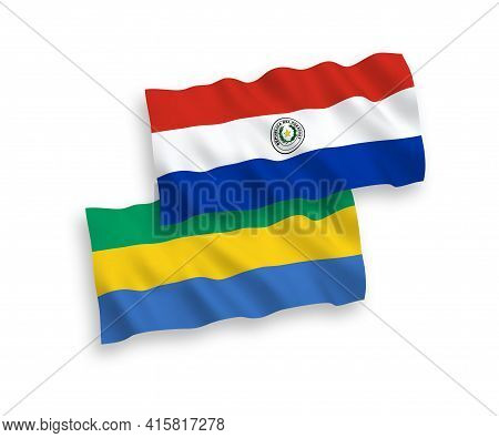 National Fabric Wave Flags Of Paraguay And Gabon Isolated On White Background. 1 To 2 Proportion.