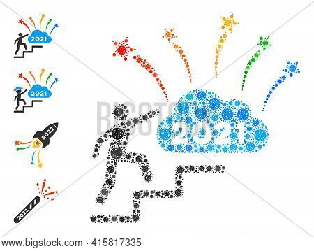 2021 Fireworks Cloud Steps Covid Mosaic Icon. 2021 Fireworks Cloud Steps Collage Is Organized With S