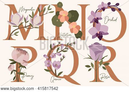 Hand Drawn Floral Alphabet With Spring Flowers In Pastel Colors.letters M, N, O, P, Q, R With Flower