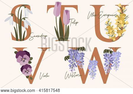 Hand Drawn Floral Alphabet With Spring Flowers In Pastel Colors.letters S, T, U, V, W With Flowers S