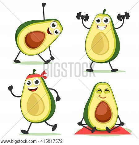 Set Of Avocados Goes In For Sports On A White Background. Avocado Characters